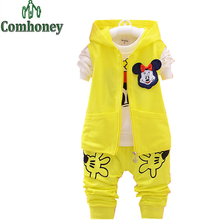 Minnie Mouse Summer Suit For Girl Coat+Pants+T-shirts 3 Piece Baby Boys Sport Suit 3 Color 2-5 Years Old Brand Kids Tracksuit