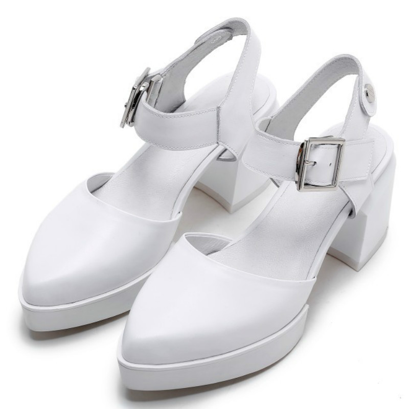 Фотография Sweet fashion Full grain leather 5cm med low square heel sandals women 2016 summer pointed toe ankle-strap white shoes sandals