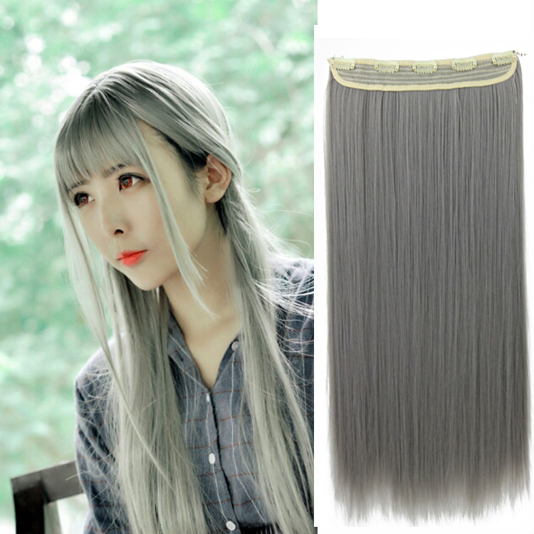 New Arrival 24inch/60cm Clip In Hair Extension High Temperature Synthetic Fiber 2016 Pop Color Women's Straight Hair Hairpiece(China (Mainland))