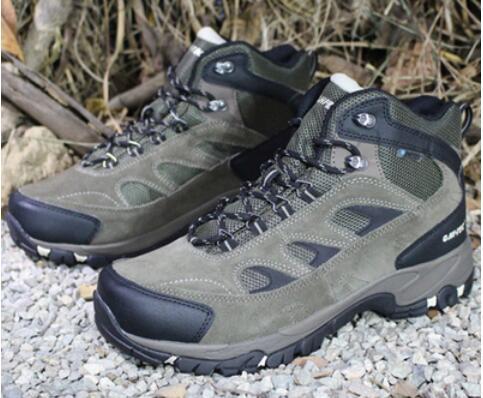 Men outdoor hiking shoes male genuine leather mesh breathable walking shoes waterproof anti-shock slip-resistant hiking sneakers