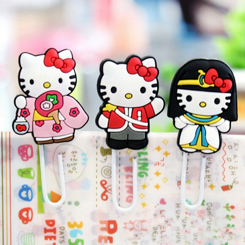 Hello Kitty Doll Silicone Bookmarks Cartoon Cute Animation Book Markers Paper Clip Page Holder Marcador De Livr School Supplies(China (Mainland))