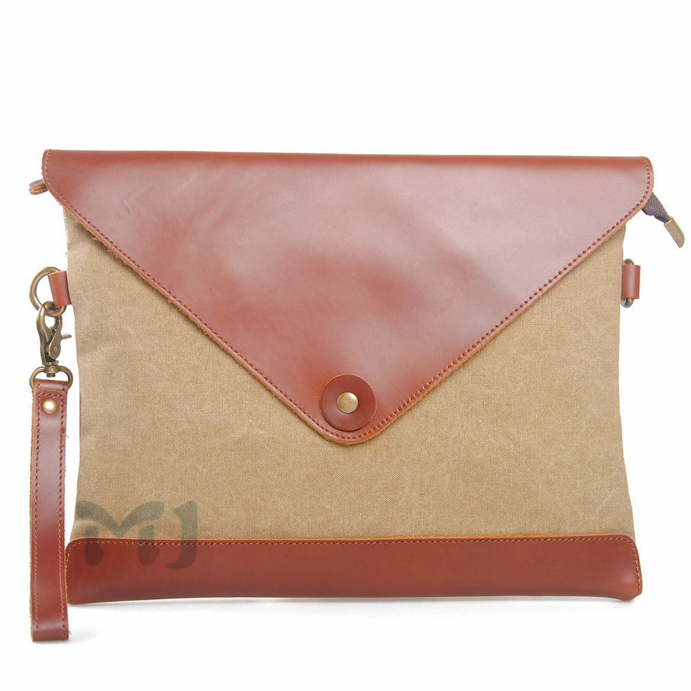 Muchuan Unisex Adult Canvas Genuine Leather Patchwork Zipper Handbag European Style Shoulder Bag Briefcase New Free Shipping()