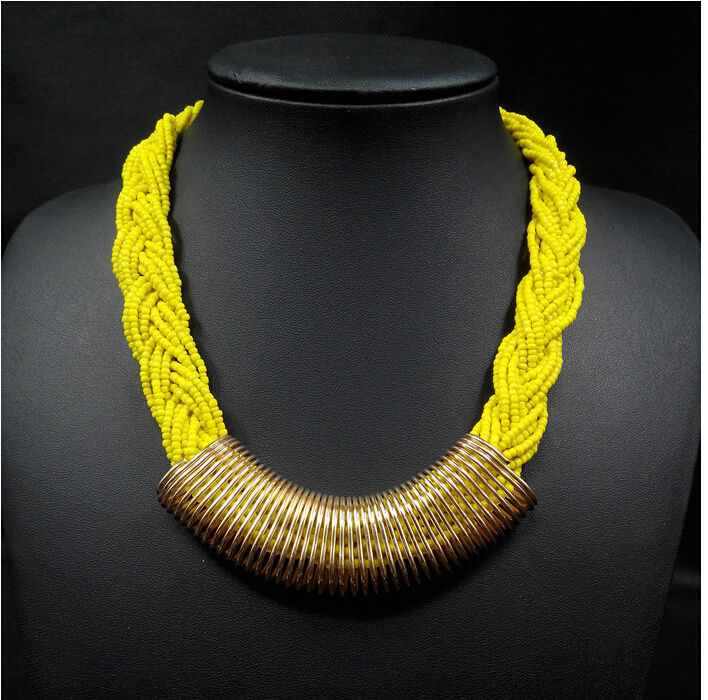 6colors handmade yellow plastic beads metal chain collar chunky choker bohemian statement bib necklace women dress accessories
