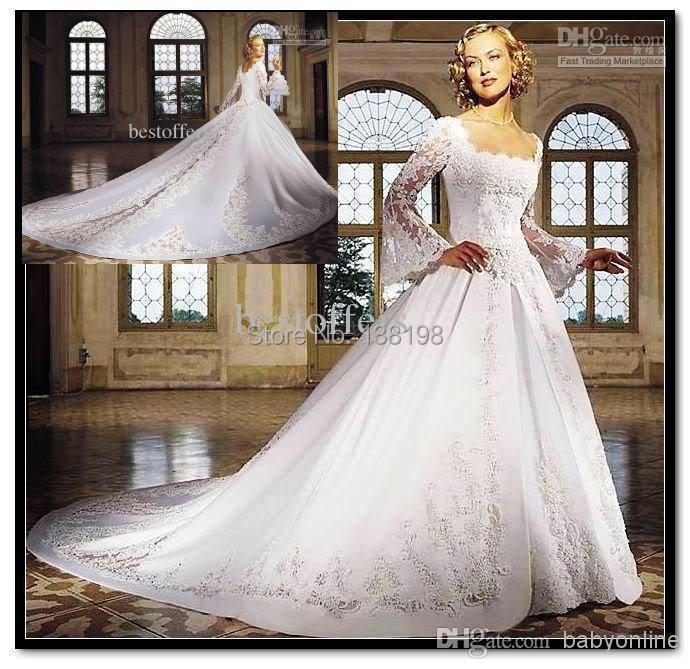 Cathedral Wedding Gowns: Royal Square Neckline A Line Cathedral Train Long Sleeves