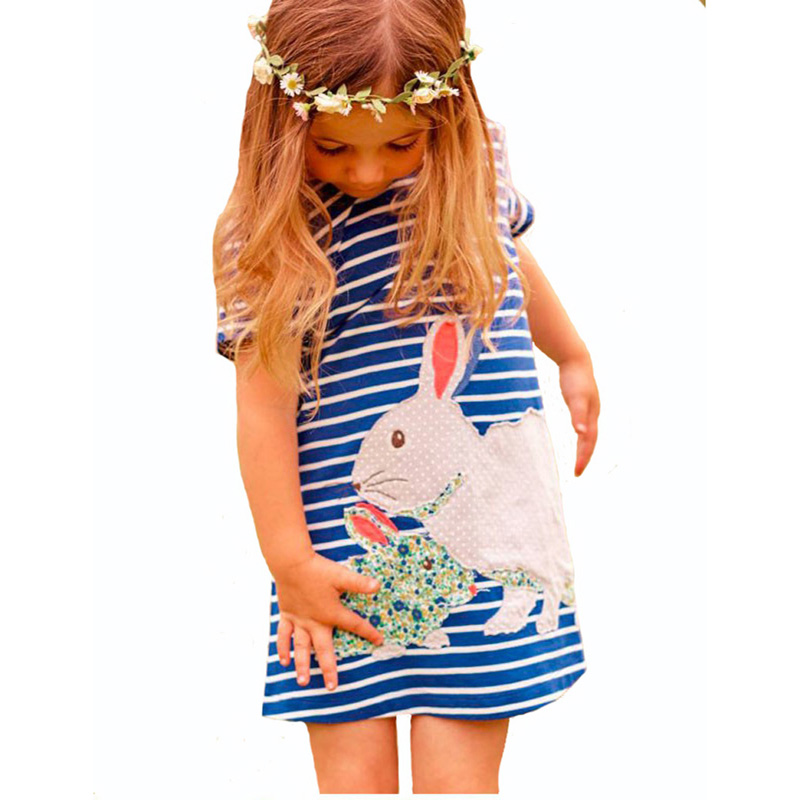 Rabbit Cartoon girl dress summer style kids dresses for girls high quality baby girl clothes animal baby girl dress wholesale<br><br>Aliexpress