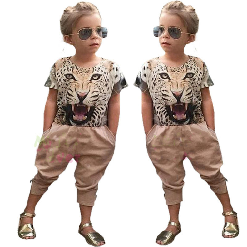 2017 girls Animal leopard pattern shorts clothing set kids Girl shirt+pants 2 pcs clothes children clothing baby girl clothes(China (Mainland))