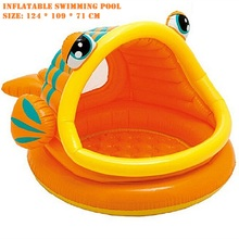 2016 Eco-friendly PVC Kids  Baby Inflatable Swimming Pool  Fish  Mouth Open Baby  Playing round Swimming Pool With Awning