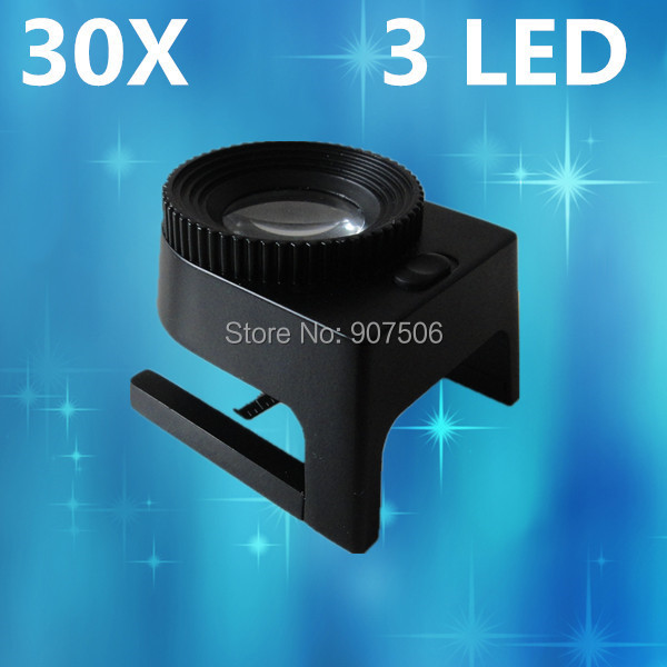 high quality jewelry loupe,standard 30X jewellery LED loupe,table type cloth illumination magnifier with 3 LED<br><br>Aliexpress