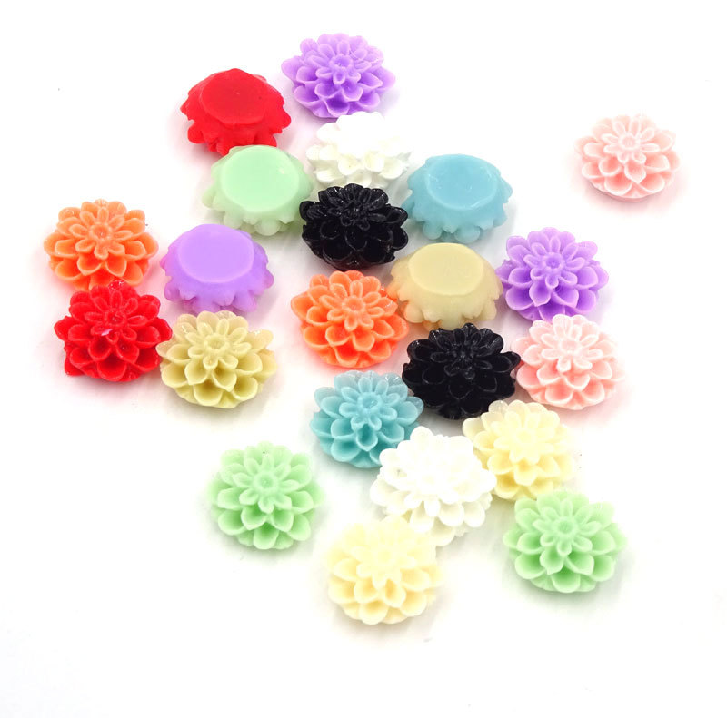15mm Mix Colors Resin Flower Beads Flatback Cabochon Jewellery Findings Chrysanthemum Flowers Crafts Material Manualidades(China (Mainland))