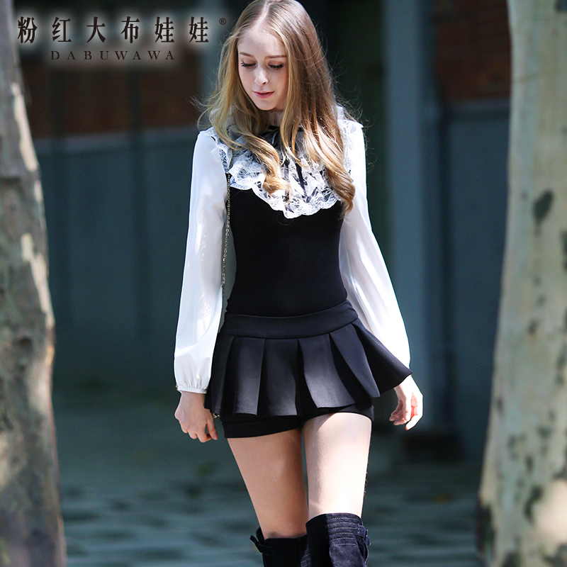 Lace bottoming shirt Pink Doll 2014 autumn ladies tailor lace slim slim long sleeved blouse(China (Mainland))