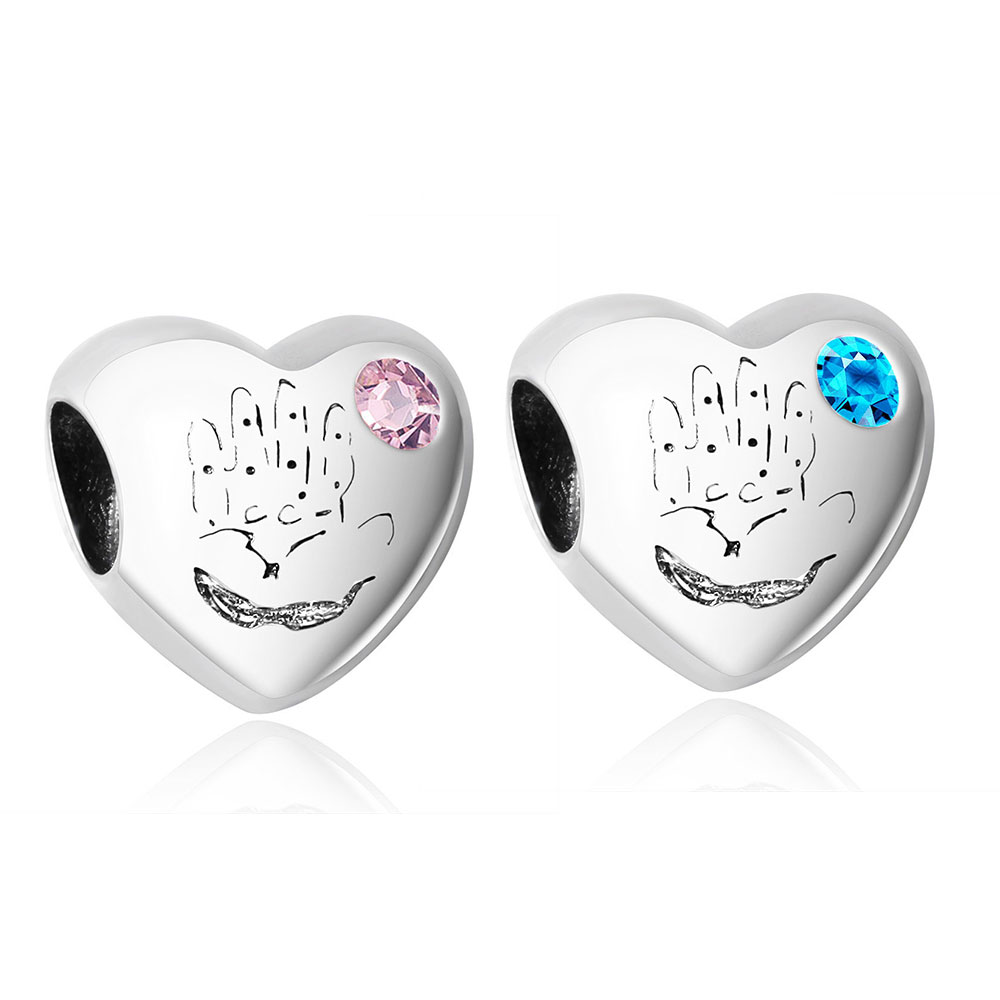 IT 'S A GIRL Heart with Pink Blue Crystal 100% 925 Sterling Silver Charm Beads Fits Original Pandora Charms Bracelet Berloque(China (Mainland))