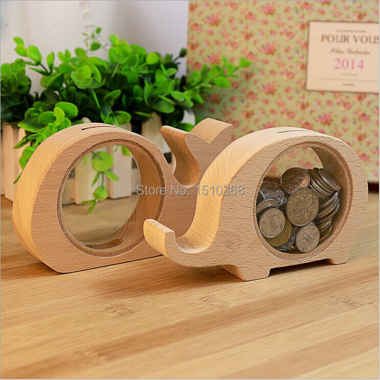 2015 new wooden cartoon coin bank money saving box piggy for Money saving box ideas