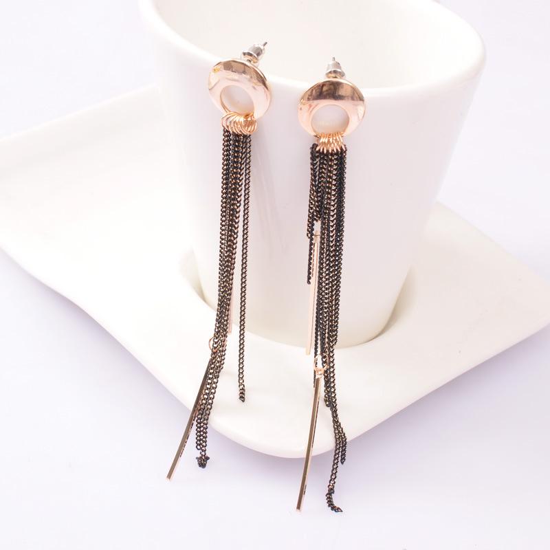 New Arrival Korean Style Long Tassel Stud Earrings Wholesale Gold Plated Fashion Women