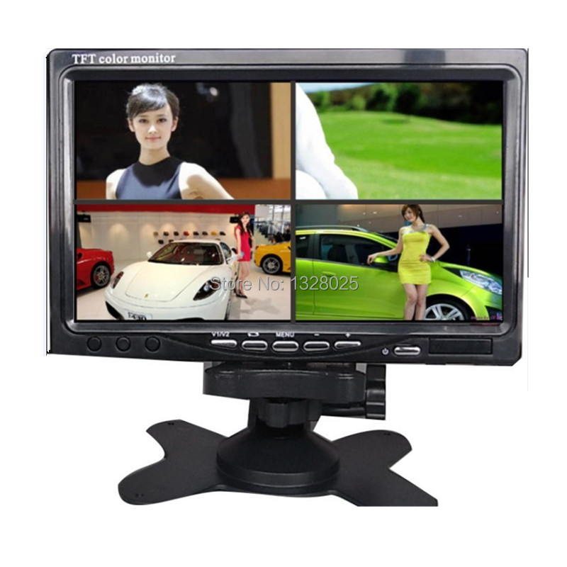 """Free shipping 7 """"TFT-LCD monitor vehicle safety Quad 4 video inputs it to monitor large truck safety monitoring surveillance(China (Mainland))"""