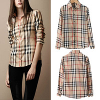 2015 Summer Fashion Shirt Women Blouse Stripe Plaid Vintage long sleeve Tops for Women Clothing ladies blouses Blusas y Camisas