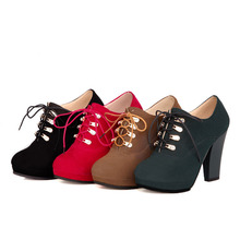 CONCISE Spring & Autumn ankle boots EUR size 40 41 42 43 44 45 46 47 48 49 50 51 52 lace-up women shoes high-quality PU boots(China (Mainland))
