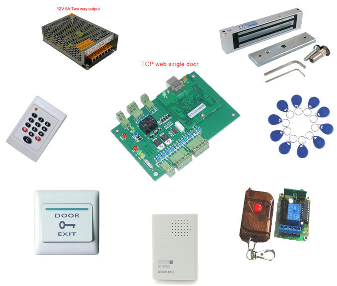 Access control kit,web single door TCP/IP+reader+power+180 magnetic lock+remote control +exit button +bell+10 em tags,sn:web-106(China (Mainland))