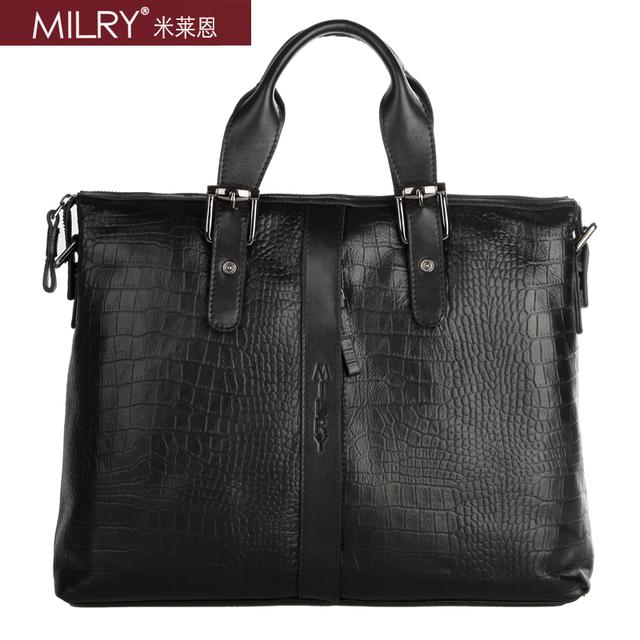 Brand MILRY 100% Genuine Leather Briefcase for men messenger bag shoulder bag laptop bag crocodile pattern portfolio CP0011-1