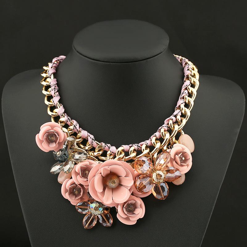 PINK Necklaces & Pendants Hot Sale Brand ZA Big Resin Crystal Flower Luxury Vintage Choker Statement Necklace Fashion Jewelry(China (Mainland))