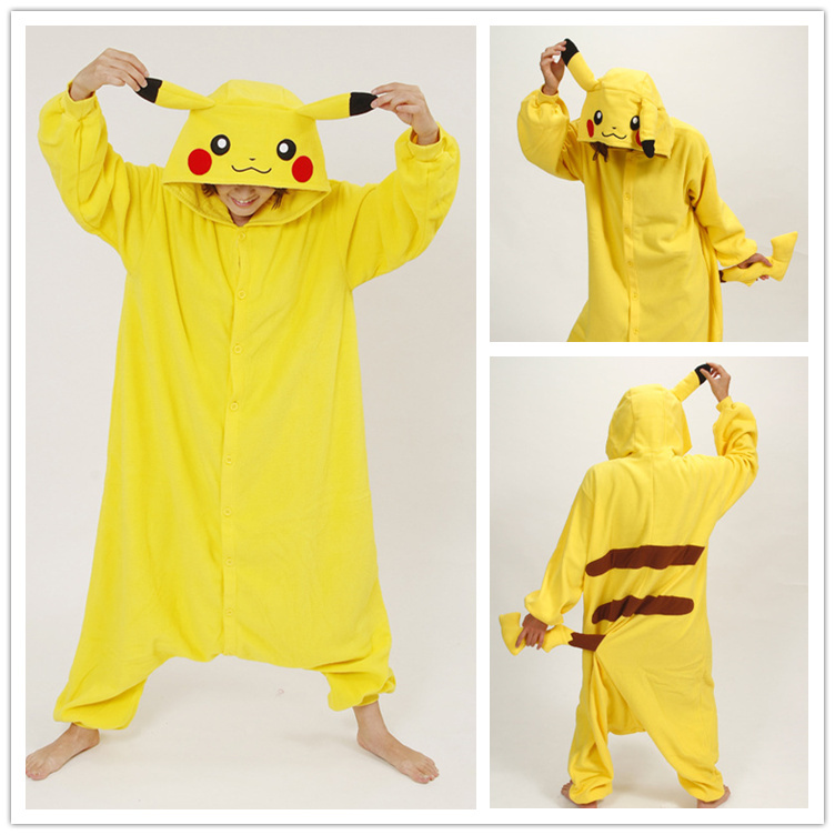 Winter Cute Adult Unisex Animal Pijama Kawaii Pikachu Onesie Women's Nightgown Family Pajama Set Pattern For Onesies For Adults(China (Mainland))