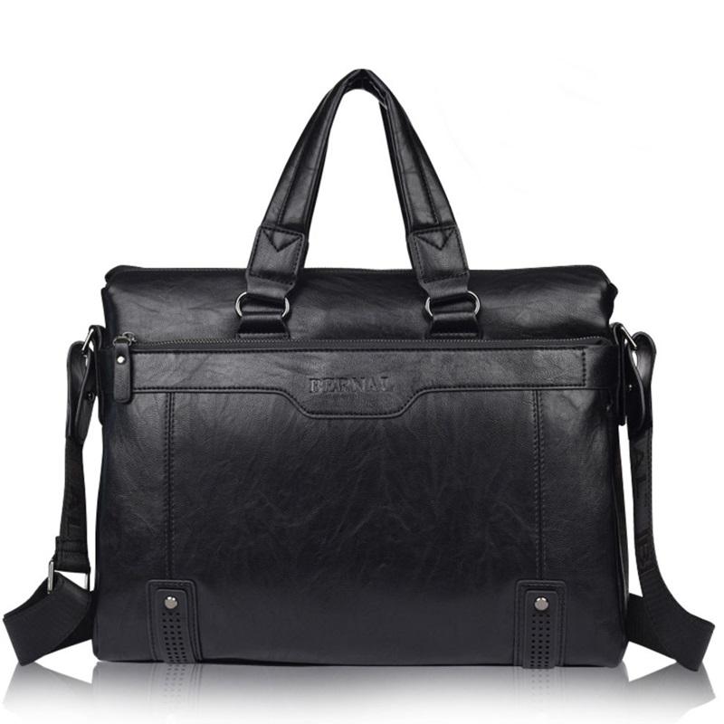 Brand leather mens briefcase black 14 laptop business messenger bag high quality  Casual Male Shoulder portable computer bag<br><br>Aliexpress