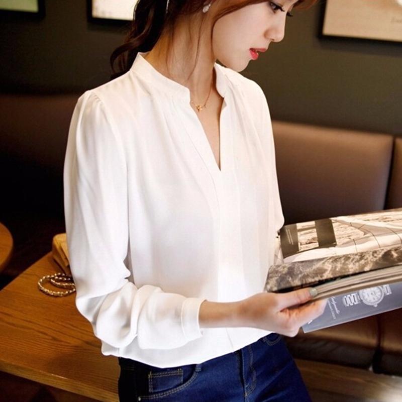 Autumn Casual Collarless Deep VNeck White Women Blouse Ladies Solid Elegant V-neck Blouses Long Sleeve OL Office Shirt Plus Size