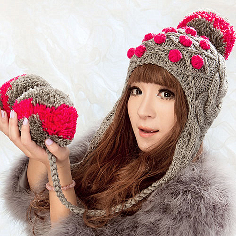 BomHCS Cute Women's Thick Cable Multicolor Handmade Knitted Beanie Cap Ear Muff Warm Hat with Soft Pom