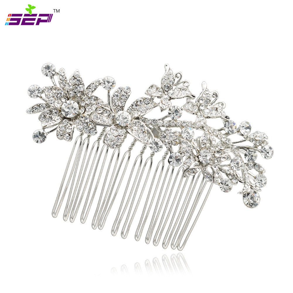 Clear Rhinestone Crystals Hair Combs Bridal Hairpins Women Head Jewelry Wedding Bride Accessories 2256r - SEP store