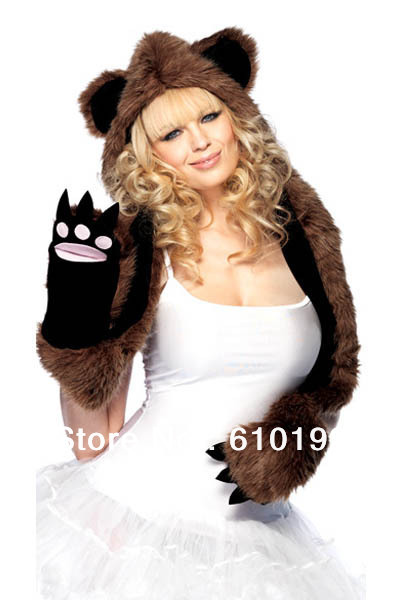 Ladies Fashion Faux Fur Hat Panda Hood With Paw hat stage props Warm Animal Cute Cap Claws Hat Ear Scarf and Glove Together(China (Mainland))