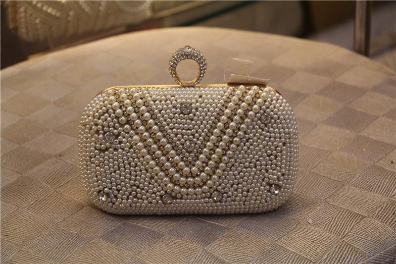 2015 Top Quality Rhinestone Ring Evening Bags Women Mini Pearl V Handbag Weeding Party Bridal Clutch Wallet With Chains Sac Main<br><br>Aliexpress