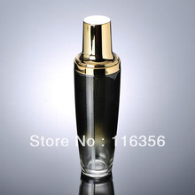 100ml black glass lotion bottle with gold pump for Cosmetic Packaging