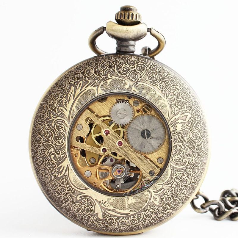 Мода ретро механические карманные часы выгравированы полые цветок-образный назад флип карманные часы сеть для мужчин и женщин