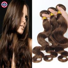 Light Brown Brazilian Hair Body Wave 3 pcs Grade 8A Brazilian Hair Weave Bundles Body Wave 4# Light Brown Human Hair Extensions
