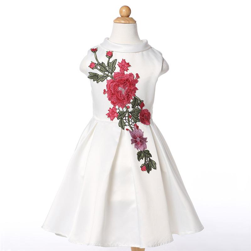 hot sale 2016 New Girls Embroidered Wedding Dress girl princess dress white navy Blue roupas infantis menina(China (Mainland))