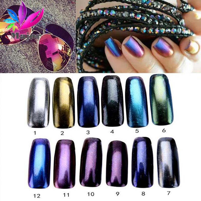 UV Nail Art Holographic Laser Rainbow Glitter Powder Rainbow mirror Chrome Powder Metal Pigments Dust Nail Decoration CCS1823(China (Mainland))