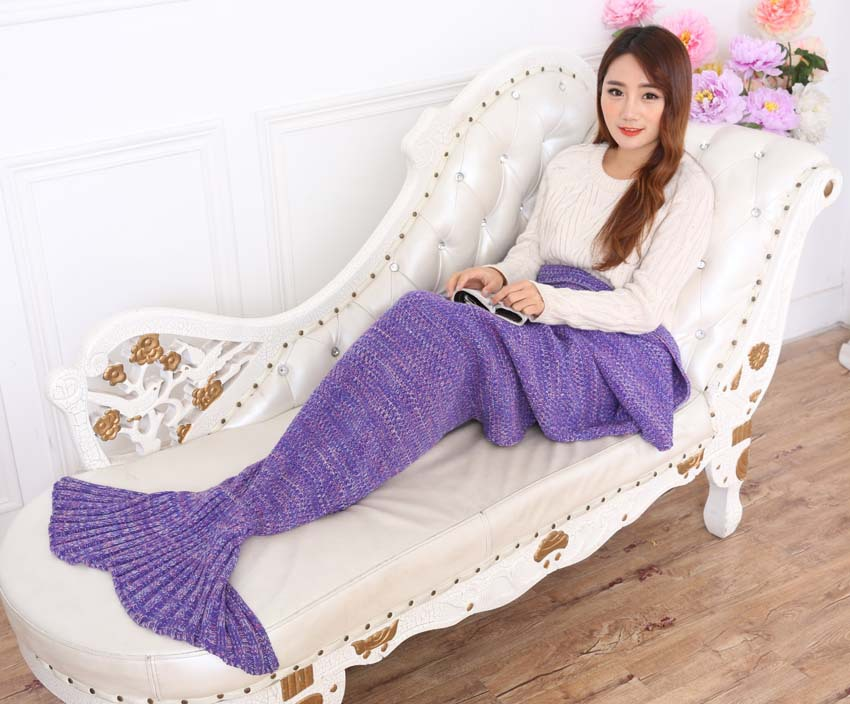 90cmx190cm Mermaid Tail Blanket Handmade Knitted Blanket New Fashion Fish Tail Sofa Blanket TV wool Home Travel Picnic Blanket(China (Mainland))