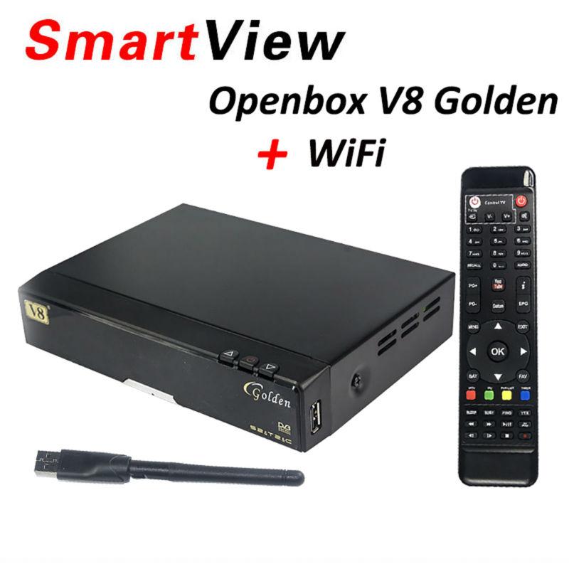 Original v8 golden+powervu IPTV box v8 golden dvb t2/s2/c upgraded V8 Pro Combo+1pc wifi open box Satellite Receiver(China (Mainland))