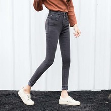Plus Size Alpaca Cashmere Ultra-soft Warm Wool Jeans Women Winter Stretch High Waist Jeans Thicken Skinny Woman pencil Pants(China)