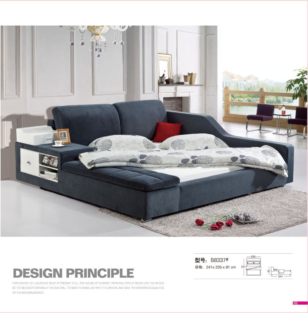 Malaysia Bedroom Modern Fabric Bed B8337# |Lizz Bed oak solid wood bedroom furniture leather soft bed large soft leather bed(China (Mainland))