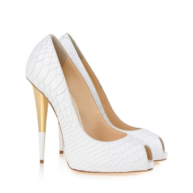 Peep toe white heels - ChinaPrices.net