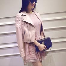 2015 Famous Brand Jacket 100% genuine leather jacket Womens black Leather outerwear Jackets for Women sheepskin dropship(China (Mainland))