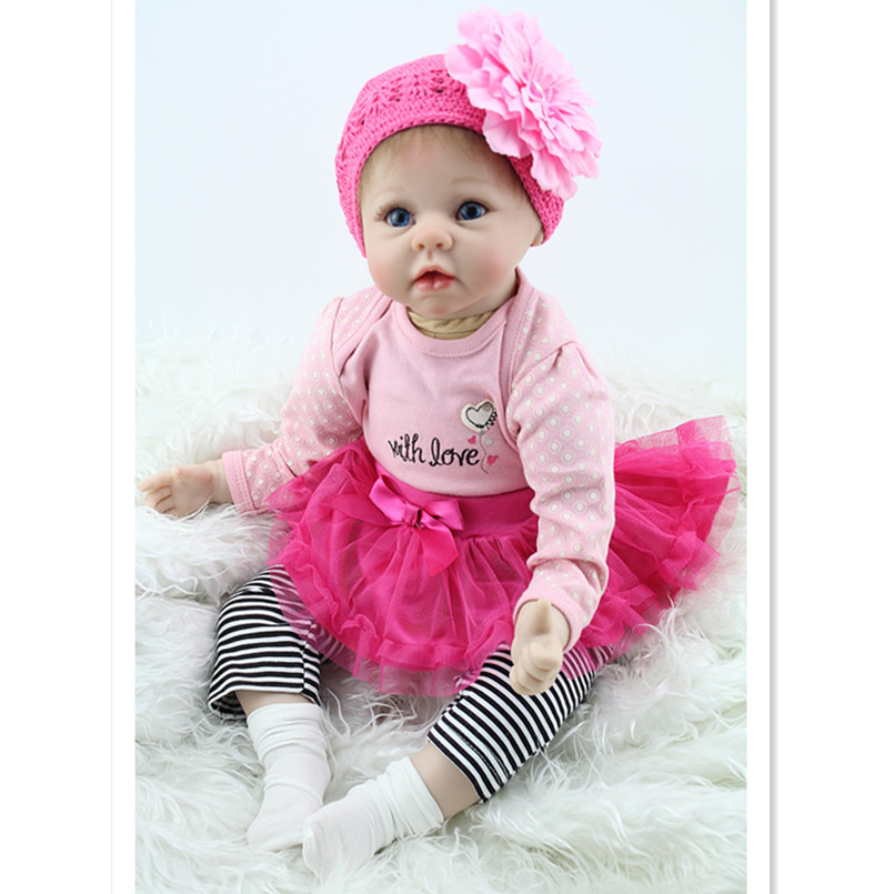 20 Inch Silicone Baby Reborn Dolls Newborn Doll with Clothes,Lifelike Doll Reborn Babies Toys for Girls Birthday Gift(China (Mainland))
