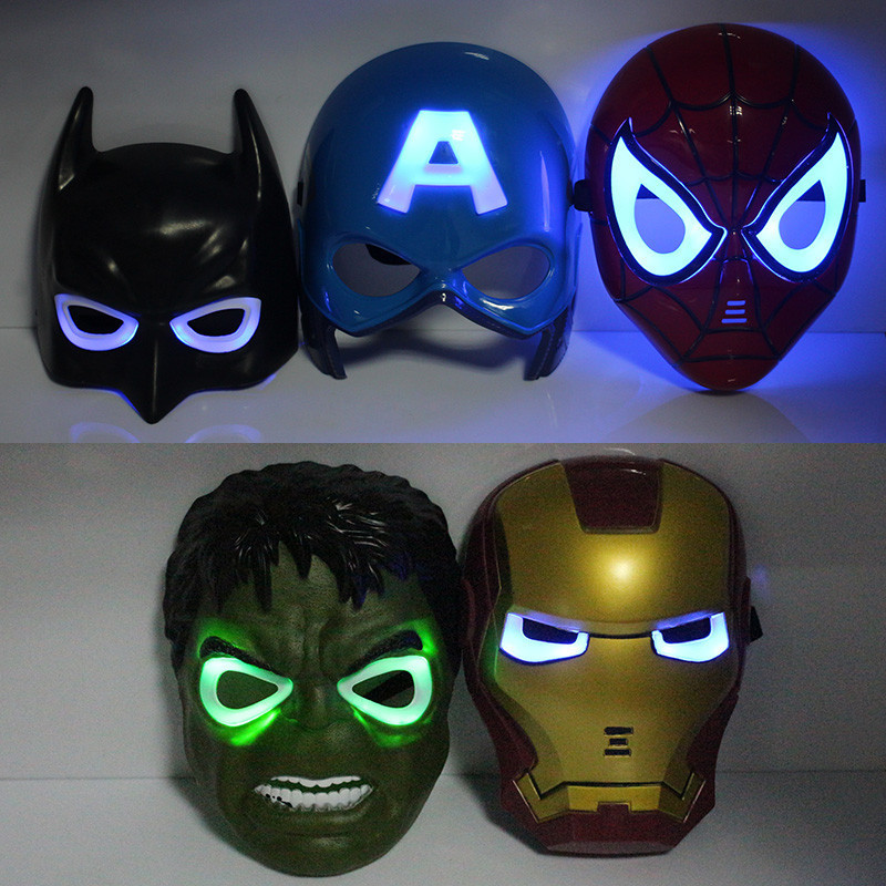 5pcs/lot New Fashion Flash The Avengers Spider Man Iron Man Hulk Batman America Captain Mask(China (Mainland))