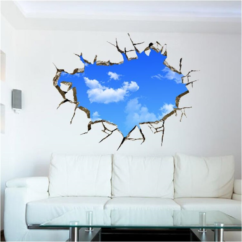 2016 Break the wall blue sky white clouds 3 d effect Bedroom adornment bedroom living room school can remove the wall(China (Mainland))