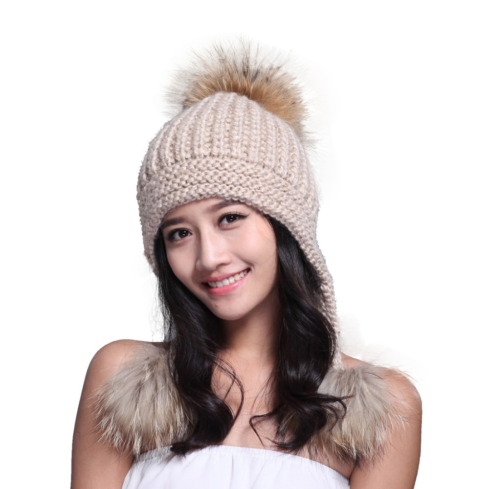 Lady Real Racoon Fur Pom Pom Wool Knit Winter Bobble hat cap with ear flaps Beanie Ski Women Gift Pink Red Gray white Black(China (Mainland))