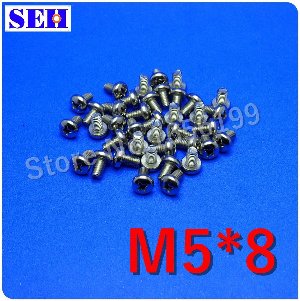 100pcs High Quality M5*8 Cross Recessed Pan Head Machine Screw Stainless Steel Screw<br><br>Aliexpress