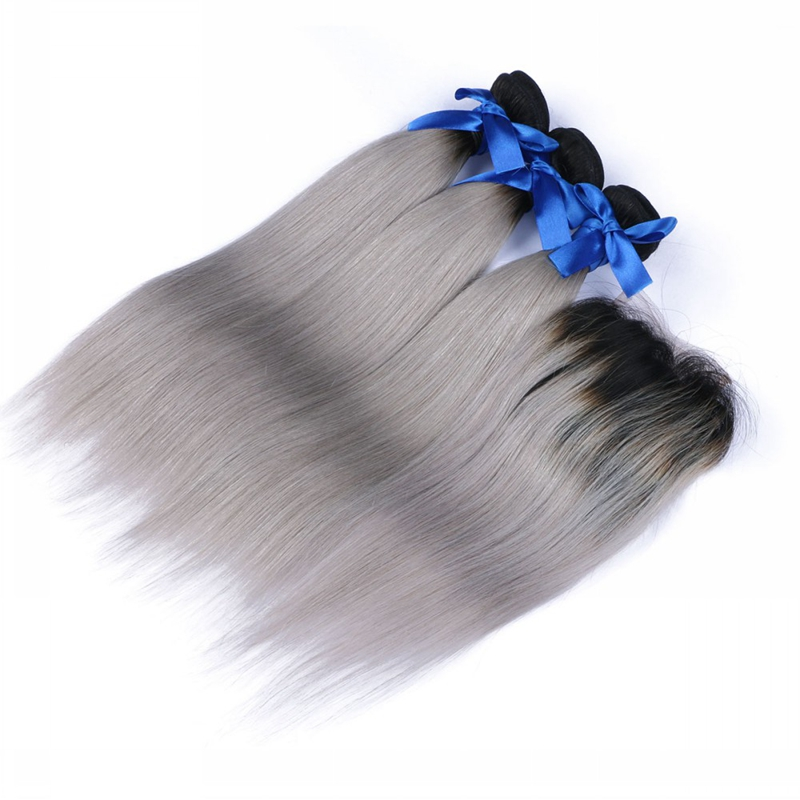 Brazilian Virgin Ombre Grey Hair 3 Bundle With Closure Body Wave Brazillian Human Hair Body Wave Extension With Closure 1b/ Grey