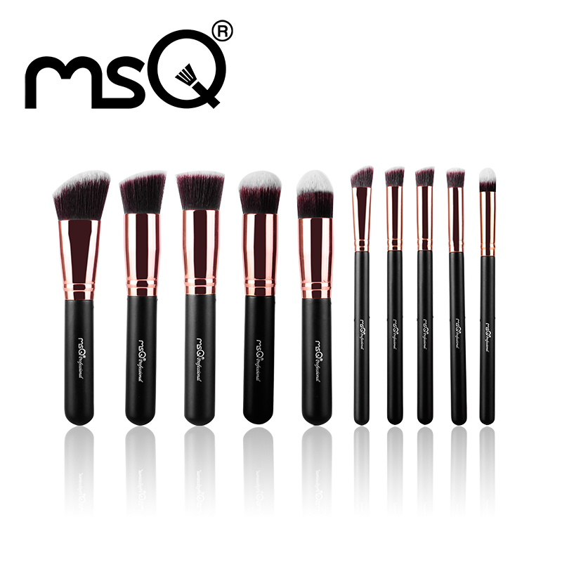 MSQ New 10pcs Makeup Brush Set Rose Gold Aluminium Ferrule Cosmetic Tool High Quality Synthetic Hair Natural Wood Handle Series<br><br>Aliexpress