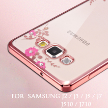 Samsung galaxy J2 J3 J5 J7 2015 case Plating TPU Soft back cover Galaxy 2016 Clear Flower Diamonds phone Case - Shenzhen Icase Trading Co.,Ltd store