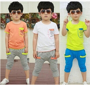 2015 Korean children's summer cotton kid's short sleeved T-shirt+short pant 2 sets boys and girls sportswear tide suit wy317(China (Mainland))